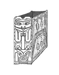 Drawing of the box drum made by author Aurel Krause that appeared in his book Die Tlinkit-Indianer: Ergebnisse Einer Reise Nach Der Nordwestküste Von Amerika Und Der Beringstrasse.