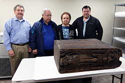 The box drum with SHI History and Culture Director Chuck Smythe, Ron Williams of the T'a̱kdeintaan Clan and his wife Julie, and Robert Starbard of the T'a̱kdeintaan Clan