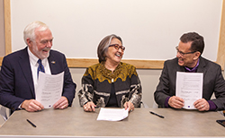 UAS Chancellor Richard A. Caulfield, SHI President Rosita Worl, and IAIA President Robert Martin.